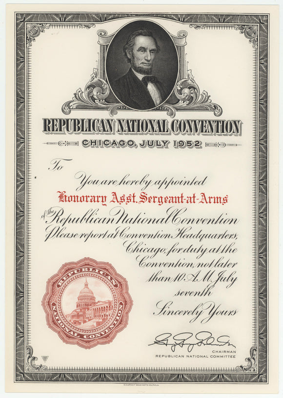 REPUBLICAN NATIONAL CONVENTION CHICAGO, 1952 appointment certificate