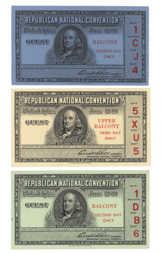 3 GUEST tickets 1948 REPUBLICAN NATIONAL CONVENTION  Philadelphia