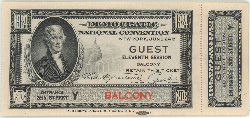 1924 DEMOCRATIC NATIONAL CONVENTION NEW YORK  GUEST