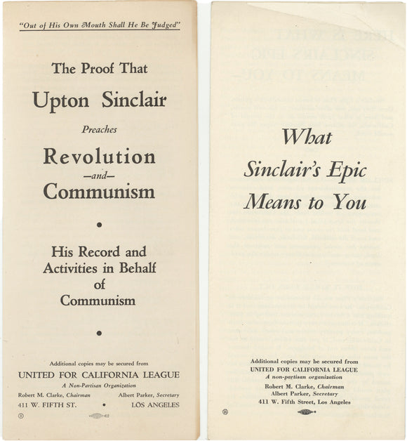 2 anti-Sinclair / pro-Merriam for governor pamphlets