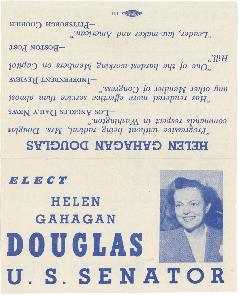 ELECT HELEN GAHAGAN DOUGLAS U.S. SENATOR FOR PEACE AND SECURITY