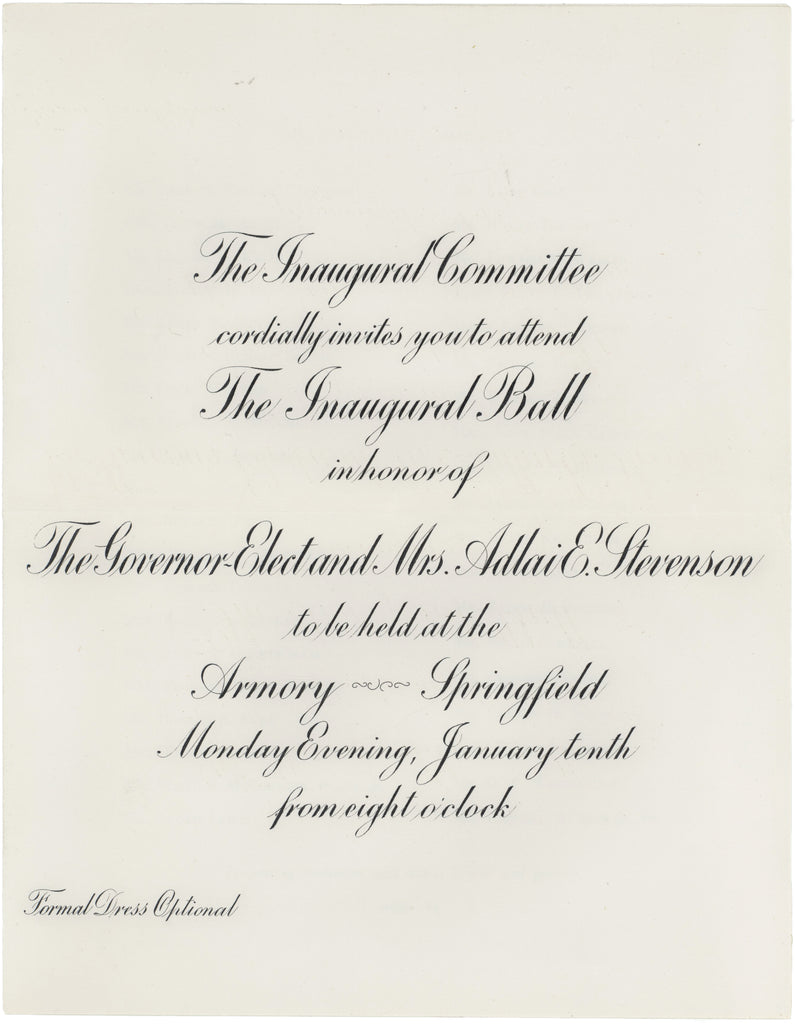 Adlai Stevenson Governor-Elect Inaugural Ball invitation