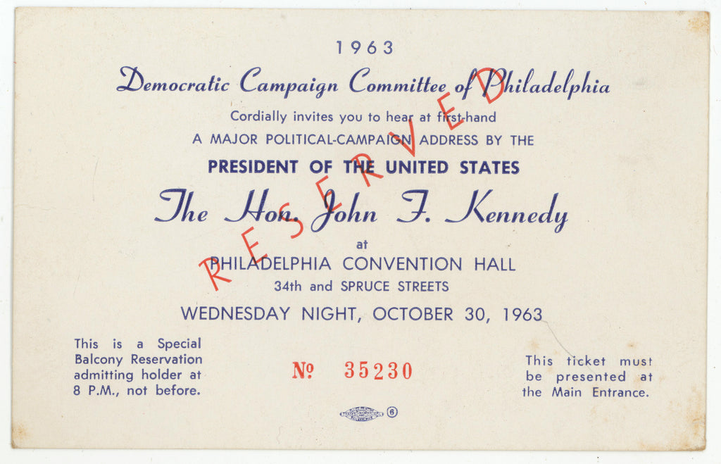 A MAJOR POLITICAL-CAMPAIGN ADDRESS BY ... The Hon. John F. Kennedy ... 1963