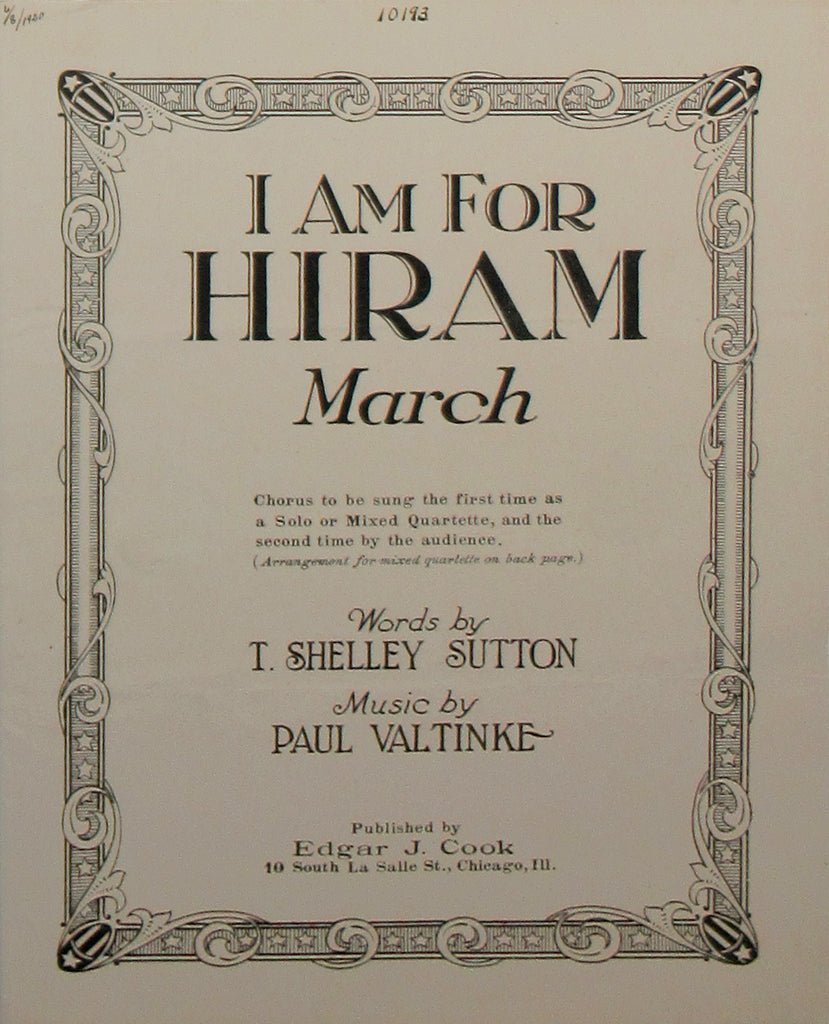 I AM FOR HIRAM March