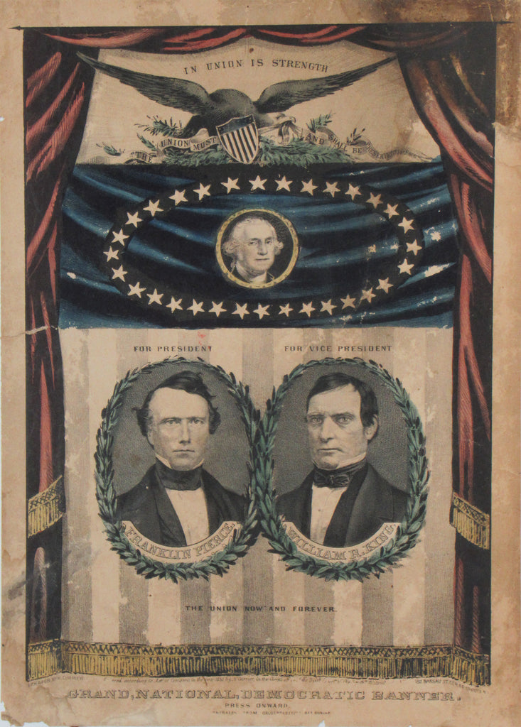 FRANKLIN PIERCE  WILLIAM R. KING  GRAND NATIONAL DEMOCRATIC BANNER.