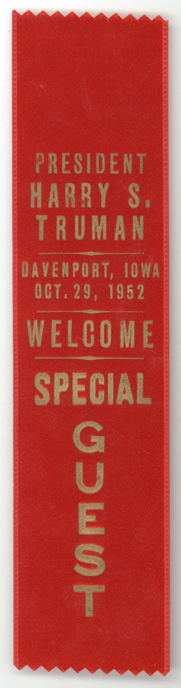 PRESIDENT HARRY S. TRUMAN DAVENPORT, IOWA OCT. 29, 1952  WELCOME