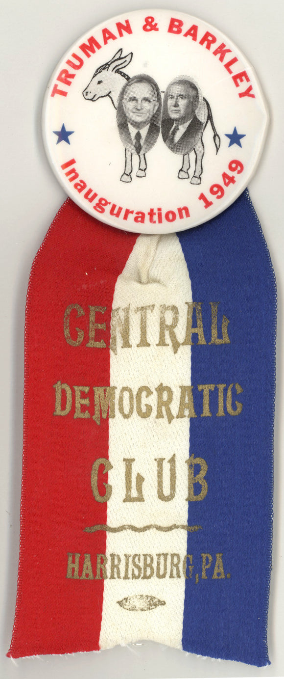 TRUMAN & BARKLEY Inauguration 1949 / CENTRAL DEMOCRATIC CLUB HARRISBURG