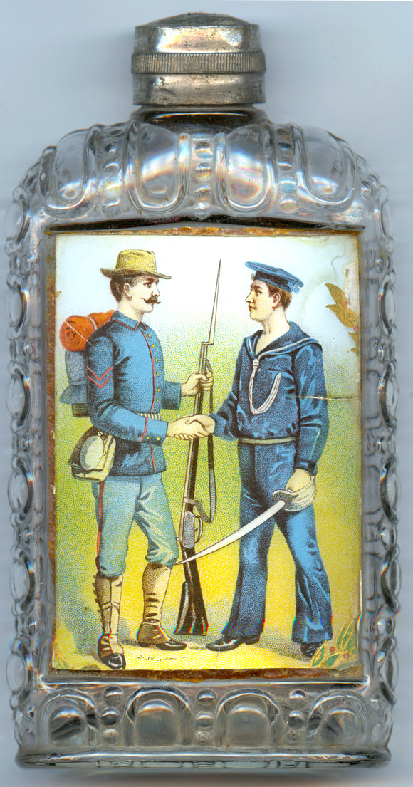 Spanish American War soldier & sailor reverse on glass flask
