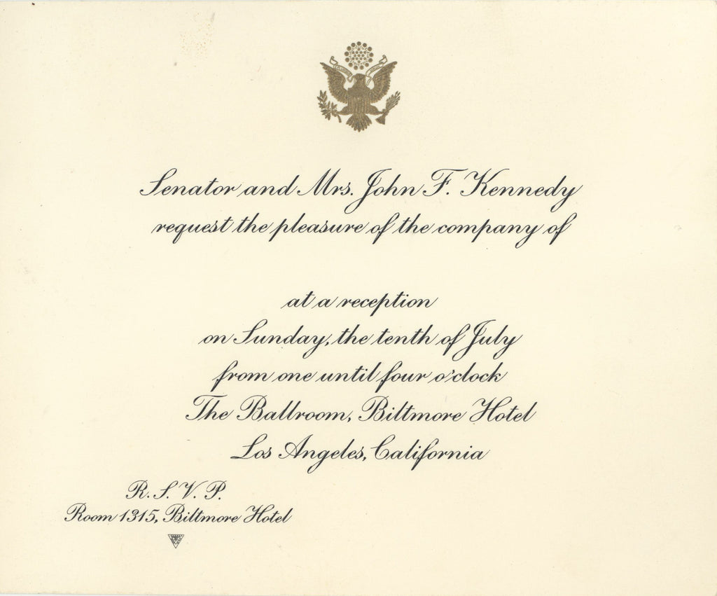 "Invitation from ""Senator and Mrs. John F. Kennedy"" 1960 Democratic Nat'l Convention"