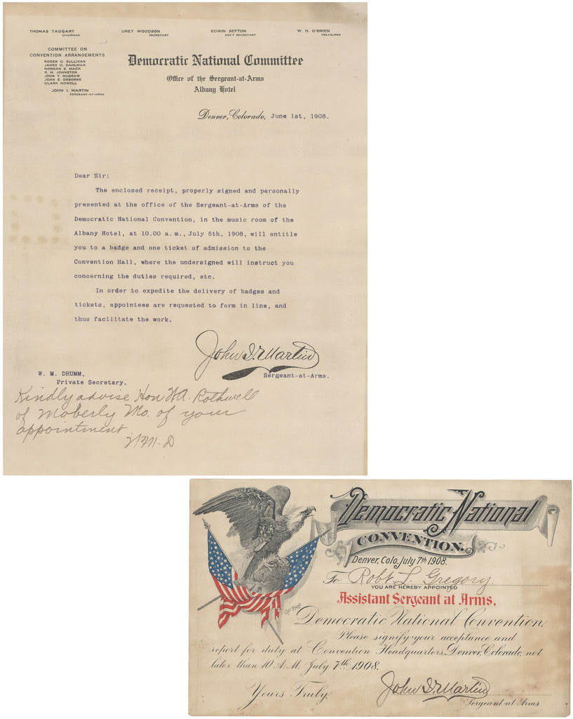 1908 DNC Assistant Sergeant at Arms appointment certificate & letter