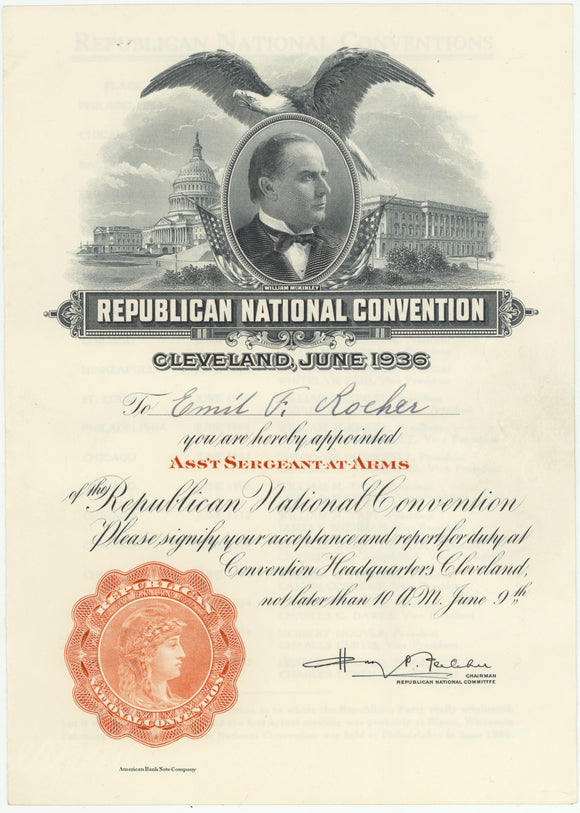 ASS'T SERGEANT-AT-ARMS Appointment Certificate 1936 Republican Natl. Convention