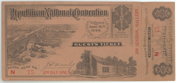 Republican National Convention St. Louis 1896  GUEST'S TICKET