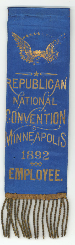 REPUBLICAN NATIONAL CONVENTION MINNEAPOLIS 1892  EMPLOYEE.