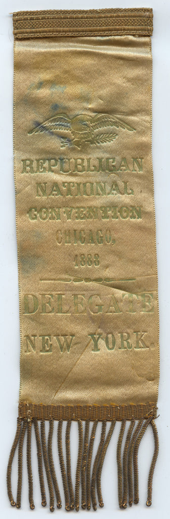 REPUBLICAN NATIONAL CONVENTION CHICAGO, 1888  DELEGATE  NEW YORK.