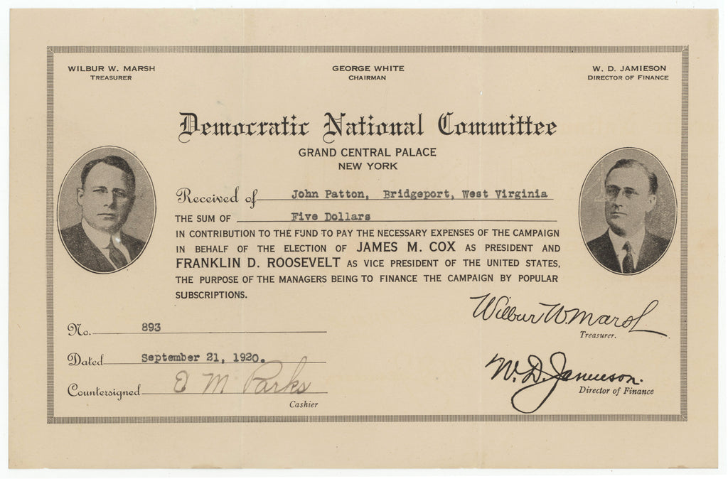 Democratic National Committee (Contribution Certificate with photos Cox & Roosevelt)