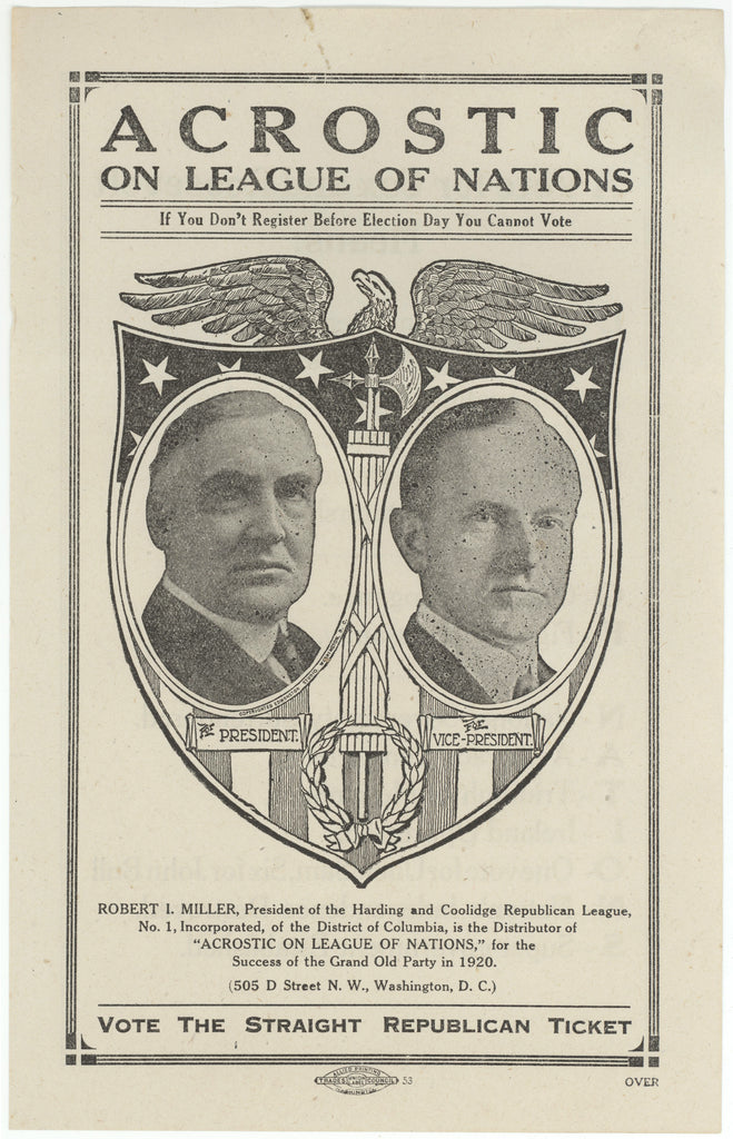 (Harding & Coolidge)  VOTE THE STRAIGHT REPUBLICAN TICKET
