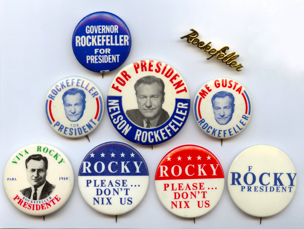 Group of 9 Rockefeller pins from the 1968 campaign