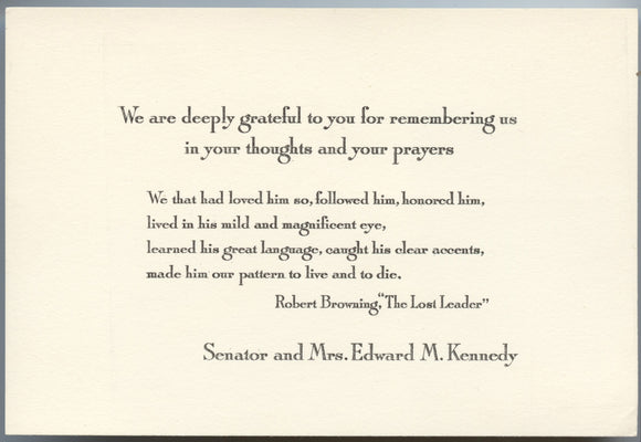 Acknowledgement of sympathy card from Senator and Mrs. Edward M. Kennedy (1968)
