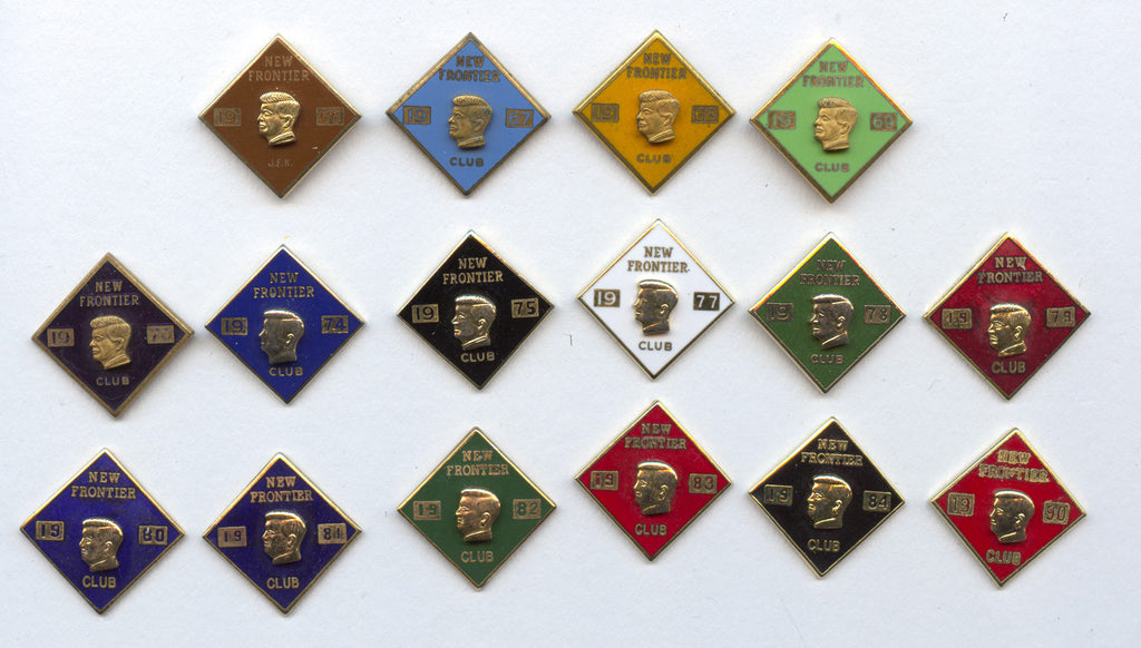 Collection of 16 NEW FRONTIER CLUB clutch-back pins