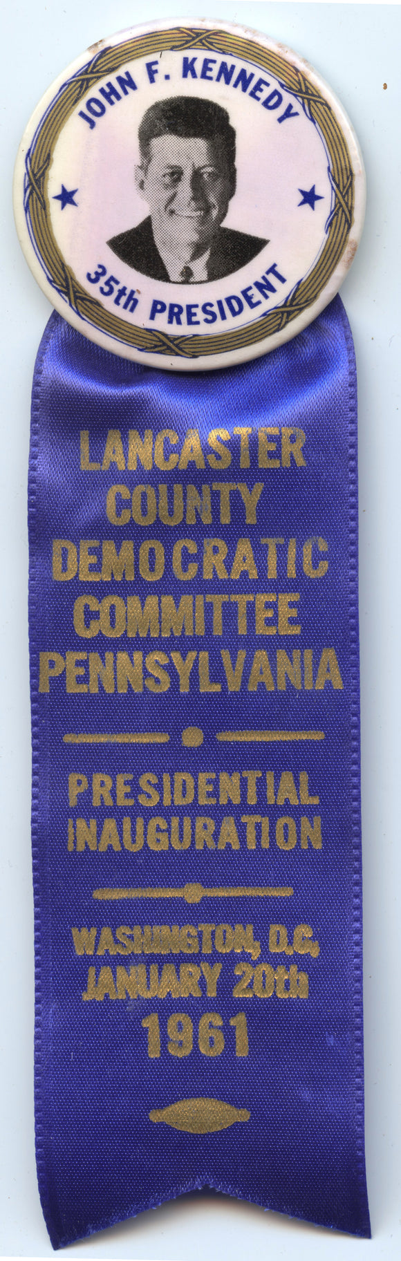 JOHN F. KENNEDY / LANCASTER COUNTY  PRESIDENTIAL INAUGURATION 1961