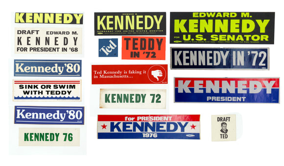 Group of 16 different Ted Kennedy bumper stickers & stickers 1968-1980