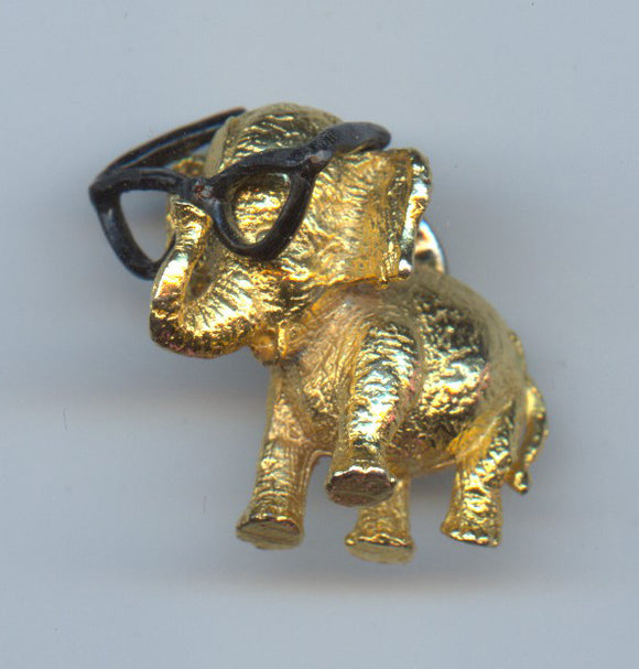 (Goldwater brass elephant with glasses pin)