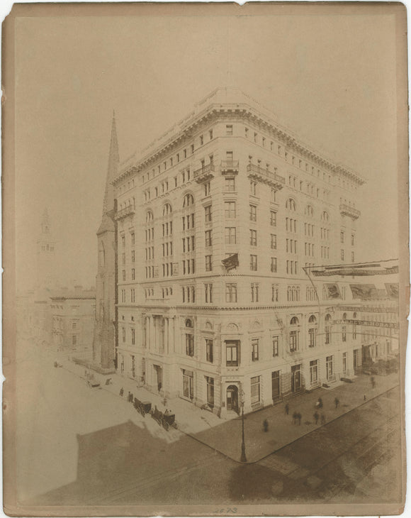 Mounted photo exterior scene bank building and huge McKinley & Hobart banner