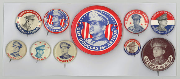 10 General MacArthur pinbacks World War II