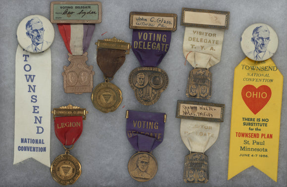 Collection of 9 Francis Townsend / Townsend Club ribbon-badges