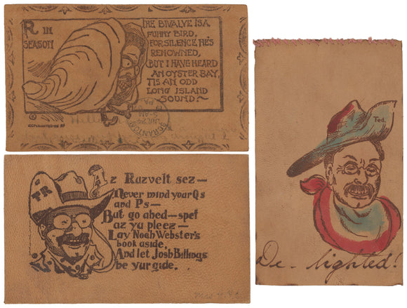 3 Theodore Roosevelt leather postcards