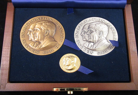 2005 Bush & Cheney Inaugural medals: bronze, silver, gold.