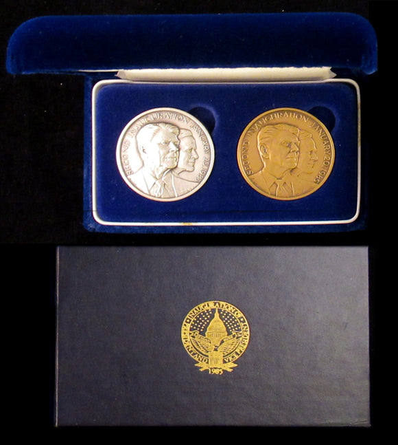 2 official 1985 Reagan Inaugural medals (silver & bronze)