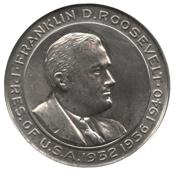 FRANKLIN D. ROOSEVELT PRES. OF USA 1932 1936 1940 / 3RD INAUGURATION (silver)
