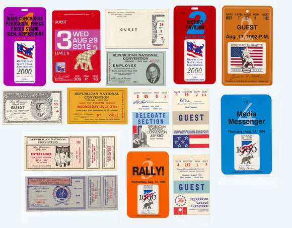 15 Republican National Convention tickets 1956-2012