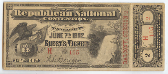 Republican National CONVENTION, MINNEAPOLIS JUNE 7TH 1892. GUEST'S TICKET