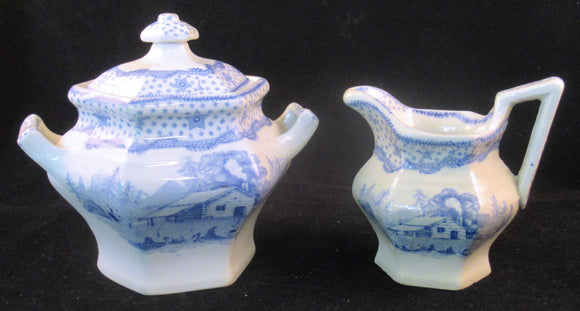 Child's sugar bowl and creamer from William Henry Harrison campaign