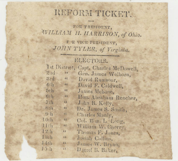 REFORM TICKET. FOR PRESIDENT, WILLIAM H HARRISON FOR VP JOHN TYLER