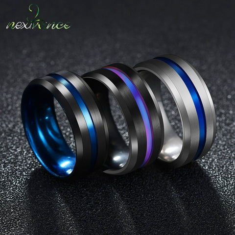 Nextvance Trendy 8MM Stainless Steel Black Blue Groove Ring For Men