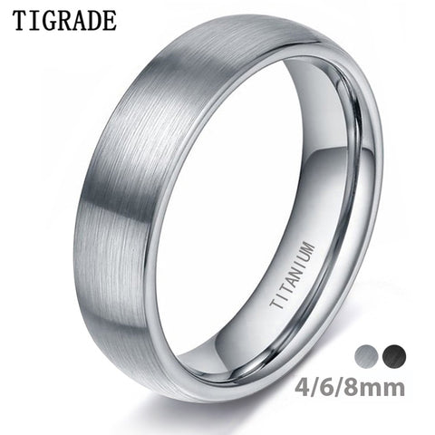 Silver Titanium Ring Men