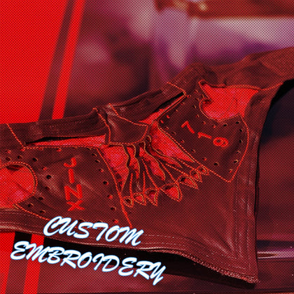 Custom Embroidery | Leather Face Motorcycle Gear