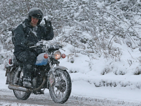 motorcycle ride in snow