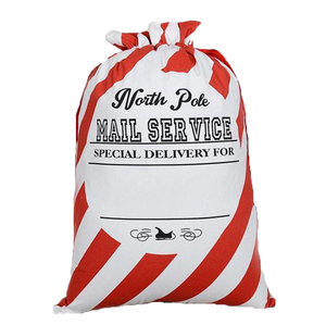 North Pole Candy Cane Post Office Reusable Santa Gift Bag