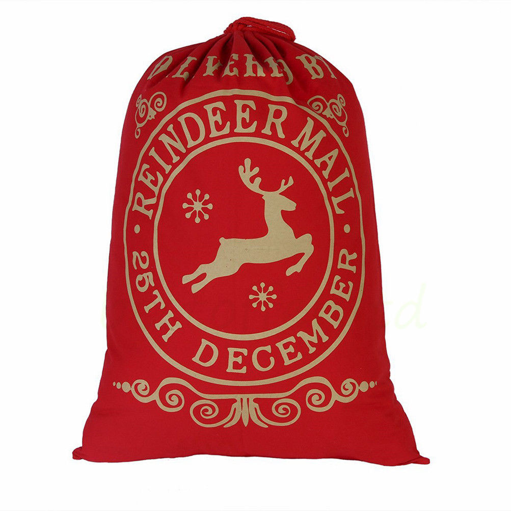 Red and gold Reindeer Mail Christmas Santa Bag