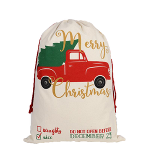Merry Christmas Truck Reusable Santa Gift Bag