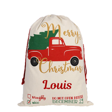 Load image into Gallery viewer, Merry Christmas Truck Reusable Santa Gift Bag