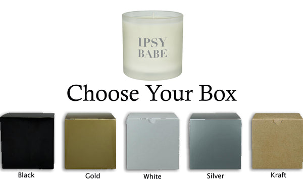 CUSTOM 10 OUNCE FROSTED CANDLE WITH SCENTED SOY WAX AND GIFT BOX