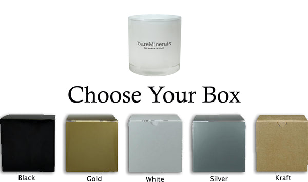 CUSTOM LUX COLLECTION WHITE 10 OUNCE SCENTED SOY CANDLE AND DELUXE GIFT BOX