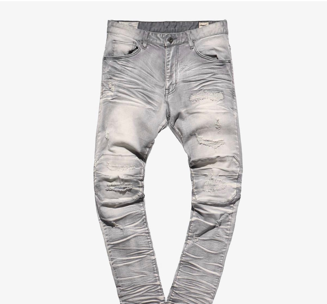 WOLF GREY DISTRESSED JEANS