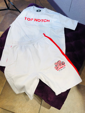 Top Notch Short Set (Red & White)