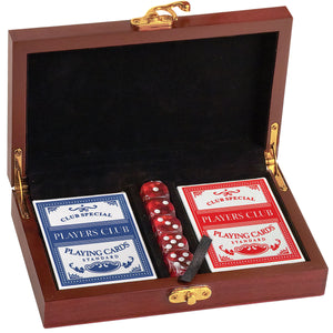 Personalized Poker Card and Dice Set - Rosewood Finish